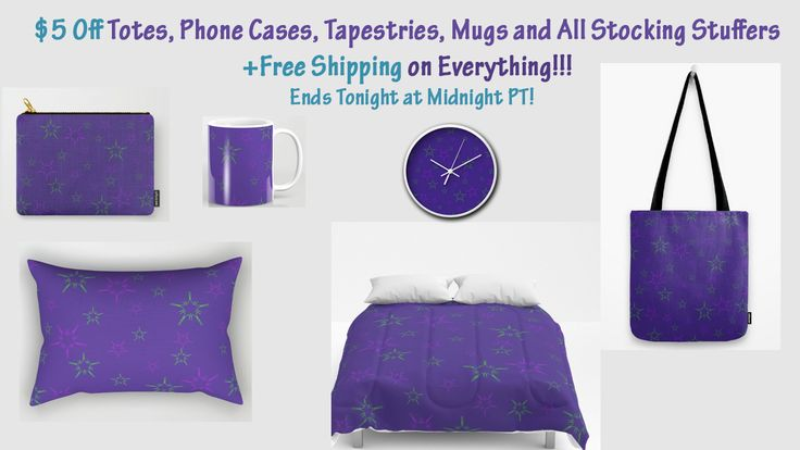 $5 Off Totes, Phone Cases, Tapestries, Mugs and All Stocking Stuffers - Free Shipping on Everything - Ends Tonight at Midnight PT! #sale #discount #society6 #scardesign #shoponline #XmasGifts #ChristmasGifts #XmasBlanket #XmasPillow #stars #pattern #purplestars #HappyHolidays #MerryChristmas #NewYearsGifts #StarsGifts #ChristmasShopping