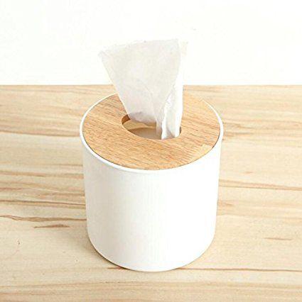 kaifang Fashion Cilindro naturaleza madera clip y cuerpo de plástico caja de pañuelos de papel/dispensador/soporte/rakc/Case/Contenedor