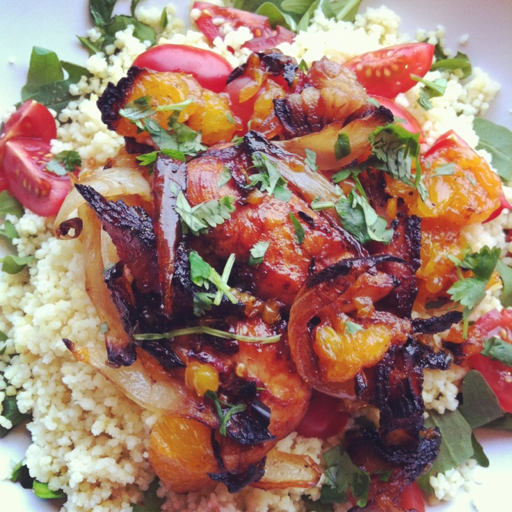 Couscous salad with honey and chili glazed chicken.   www.matikvadrat.se