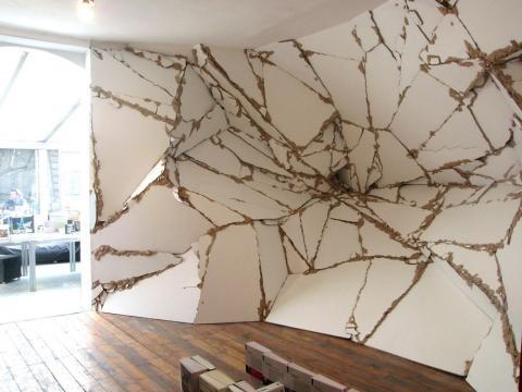 Baptiste Debombourg, wall sculpture, installation. modern art. deconstruction. deconstructivism.
