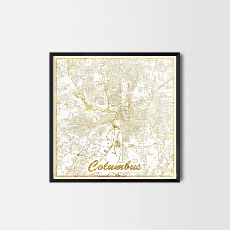 Columbus map posters are high quality map art prints of a great city. Perfect for the house and office or as a gift for a friend. Interior gift travel gold