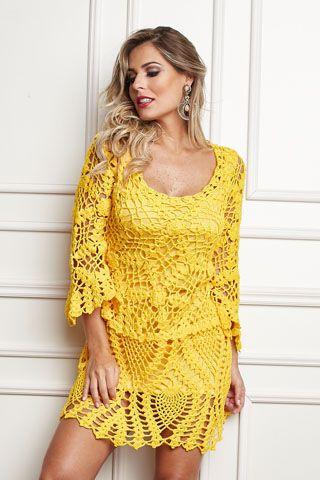 Armarinho São José: Receita: Vestido de Crochê com Squares …