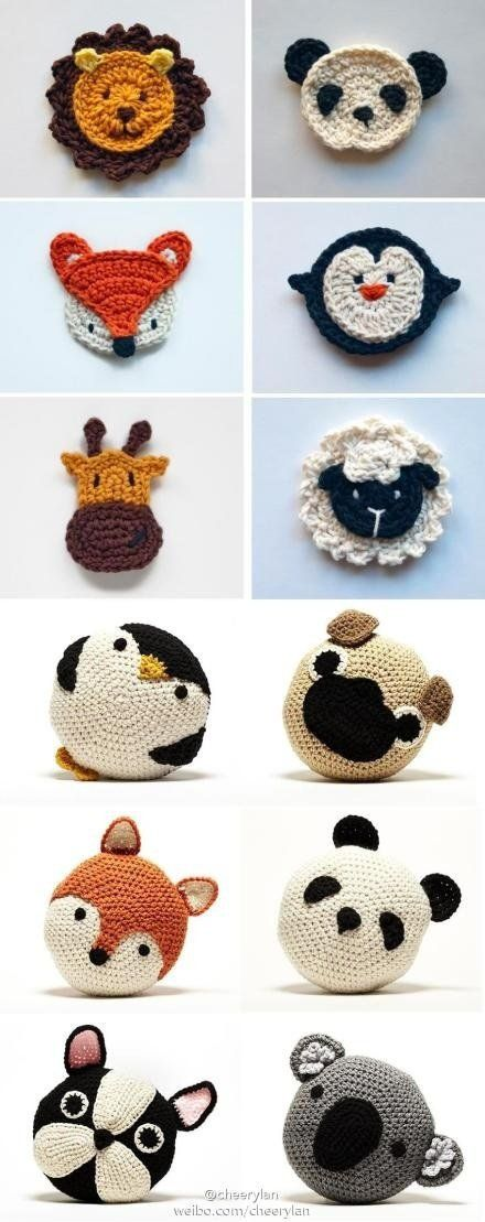 Adorable crochet animal cushions. We want one of each!