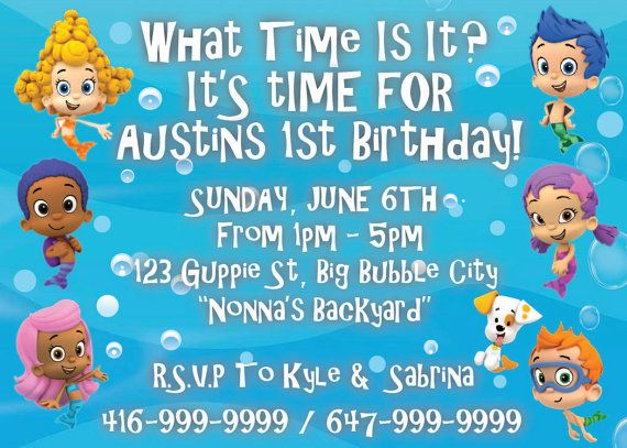 Bubble Guppie birthday party theme invitation on Etsy, $10.00 CAD