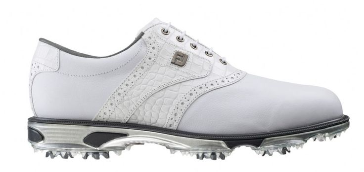 FootJoy DryJoys Tour Men's Golf Shoes - White White Croc - 53673 - M Width - Includes a Free Two Pack of FootJoy Socks