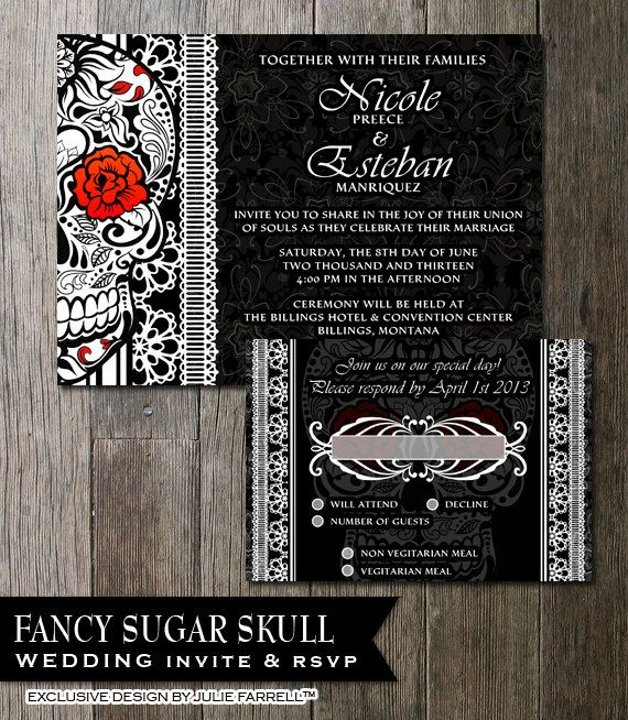 Sugar Skull Wedding Invitation DIY Black And White Fancy Sugar Skull Day of the Dead-Dia De Los Muertos- Wedding Invite & RSVP