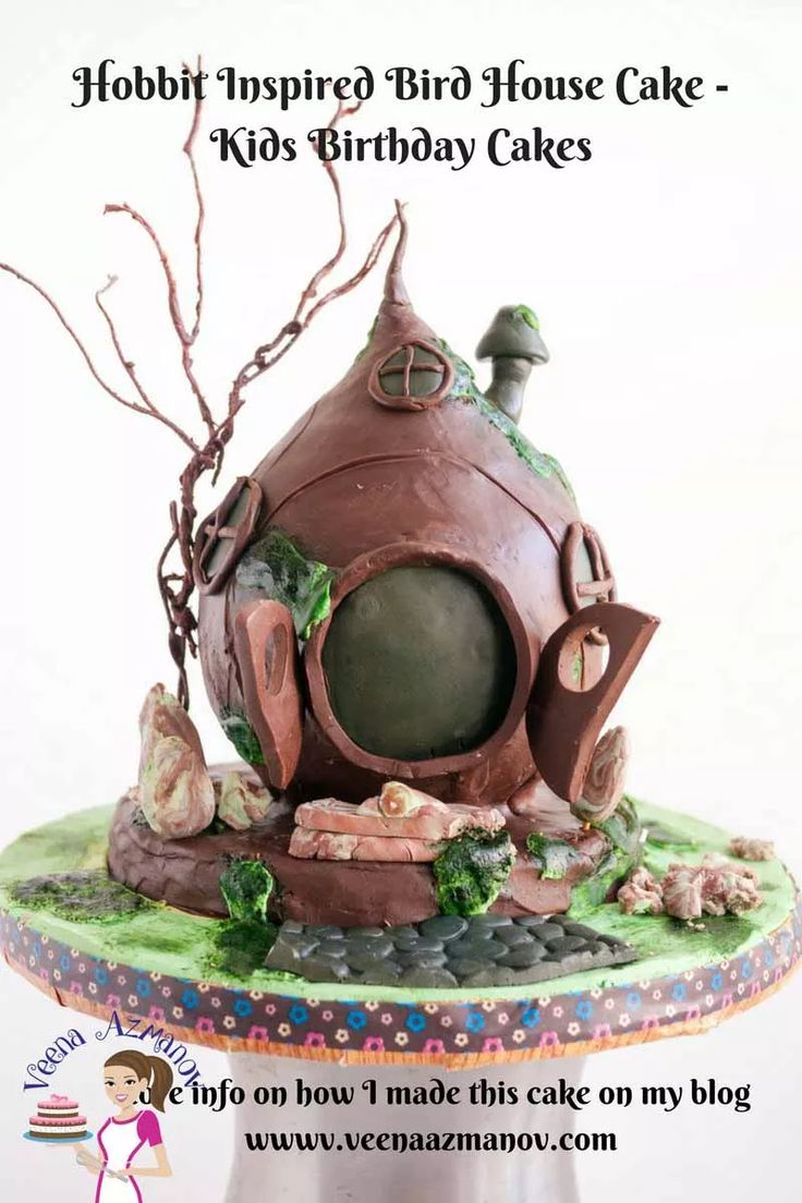 HOBBIT INSPIRED BIRD HOUSE CAKE – 10TH BIRTHDAY CAKE  A Bird House Cake is a great gift for kids who love something a little different and more than just castles and towers. This was inspired by the little Hobbit homes with an earthy rustic feel.