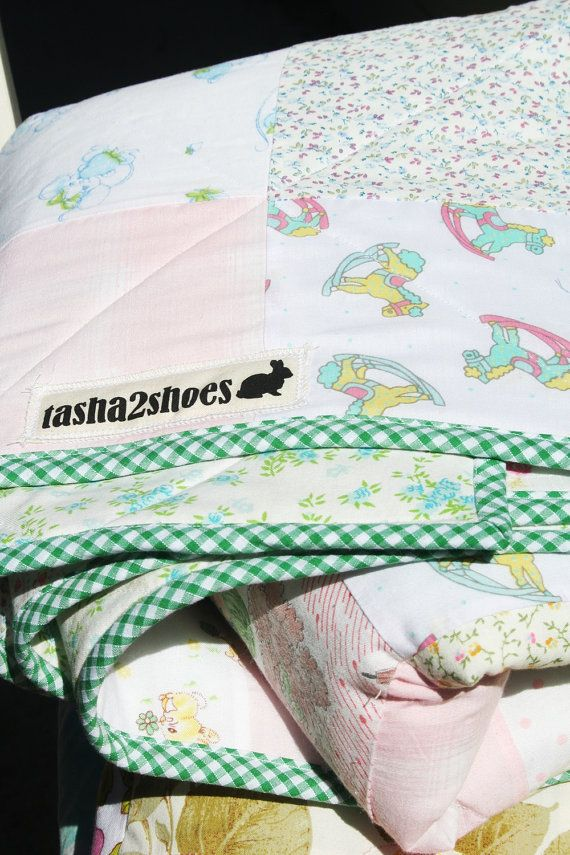Pastel Vintage Fabric Quilt extra bed blanket couch by tasha2shoes, $100.00