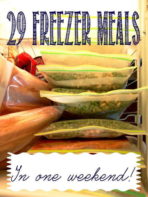 29 Freezer meals, each with 4-6 servings!  Recipes and storage tips included, not your typical freezer meal recipes! $1.60 per meal!!