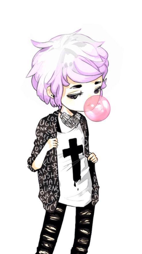 kawaii pastel goth anime boy