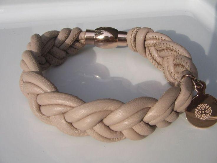 QUDO echtes Nappaleder Armband geflochten * AURELIA beige * roségold