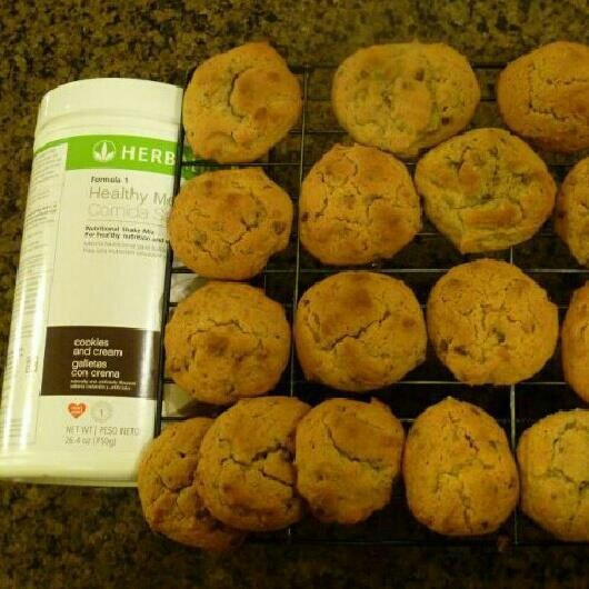 1 tsp baking soda 2 cup all-purpose flour 1/4 cup cookies n' cream Herbalife healthy meal 1 tsp salt 1/2 cup butter 1/2 cup applesauce 1 tsp vanilla extract 2 large eggs 1 cup chocolate chips or 2 chopped up Herbalife protein bars.1. preheat oven to 375.2. mix in a large bowl softened butter, applesauce, 2 eggs and vanilla till smooth.3. add baking soda, salt, flour, and cookies n' cream healthy meal.4. mix till smooth then add chocolate chips or protein bar.5. cook for 10-15 minutes