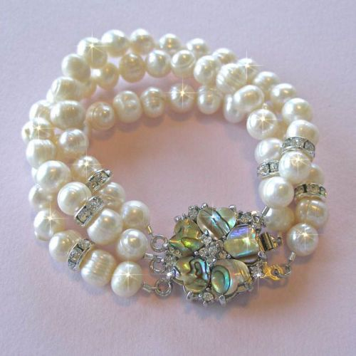 Handmade 3-Strand Freshwater Pearl Bracelet with Abalone Clasp