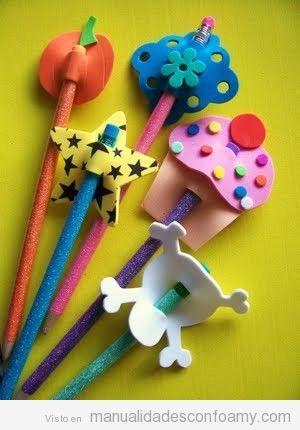 Manualidades con foamy para decorar lápices