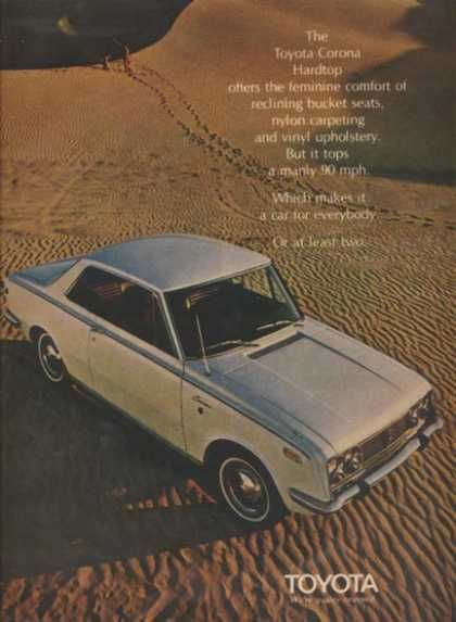 An old Toyota advertisement! Back when advertising 90+ MPH was a big selling point!