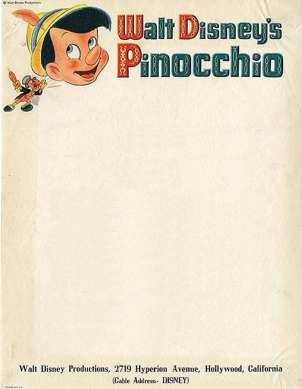 Walt Disney, 1940 | Source Letterhead used by Walt Disney himself in March, 1940, a few weeks after Pinocchio premièred in the US. Previously featured Disney letterheads: Peter Pan; Alice in Wonderland; Fantasia; Jungle Book; Wonderful World of Color; Silly Symphony.