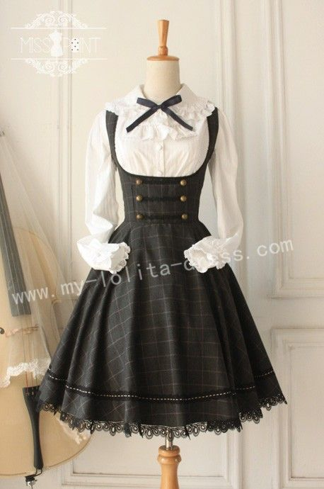College School Style Vintage Tartan Lolita Jumper Dress $60.99-Cotton Lolita Dresses - My Lolita Dress