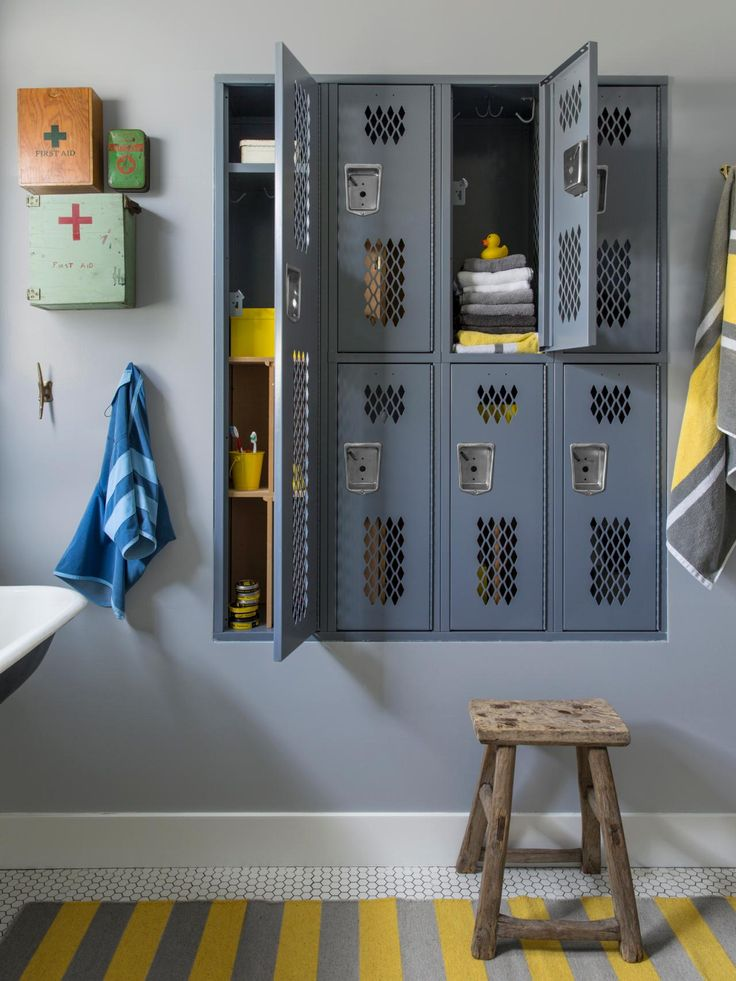 Bathroom Storage: College vintage lockers, With recycled first aid kits adjourned together for classy bathroom inspiration.