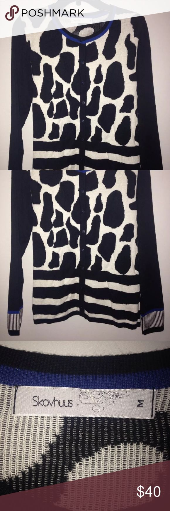BLACK WHITE ANIMAL PRINT CARDIGAN SWEATER NEW WITH TAGS  BEAUTIFUL SKOVHUUS STRIPED ANIMAL PRINT CARDIGAN SWEATER   WOMEN SIZE MEDIUM   THIS CARDIGAN WAS PURCHASED AT NORDSTROM AND WAS NEVER WORN   SEE PICTURES FOR DETAILS   Contact me if you have any questions skovhuus Sweaters Cardigans