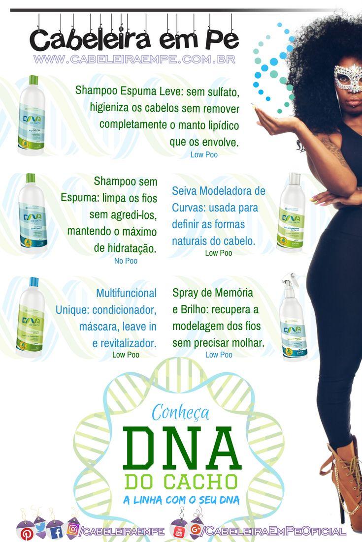 Conheça os produtos da linha DNA do Cacho da Salon Embelleze: Shampoo Sem Espuma, Shampoo Espuma Leve, Condicionador Unique, Seiva Modeladora de Curvas e Spray de Memória e Brilho.