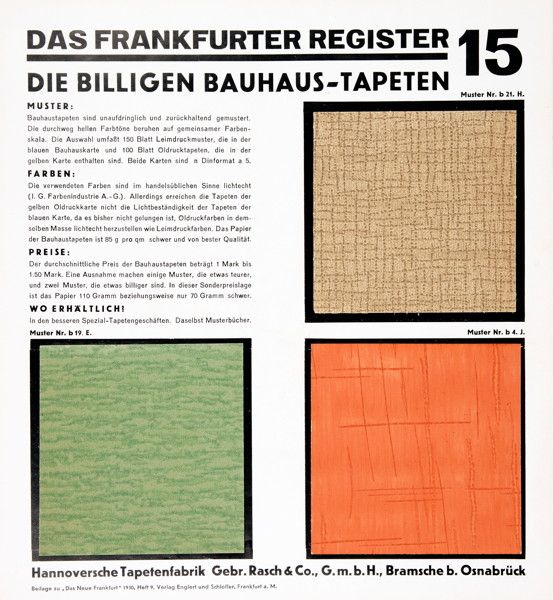 The Cheap Bauhaus Wallpaper Range Supplement Of Magazine Das Neue Frankfurt Presenting Products Company Rasch Germany