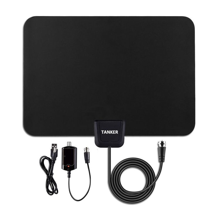 Tanker 50 Mile Range Amplified TV Antenna with Detachable Amplifier Signal Booster for High Performance and 10ft Coaxial Cable(Black)