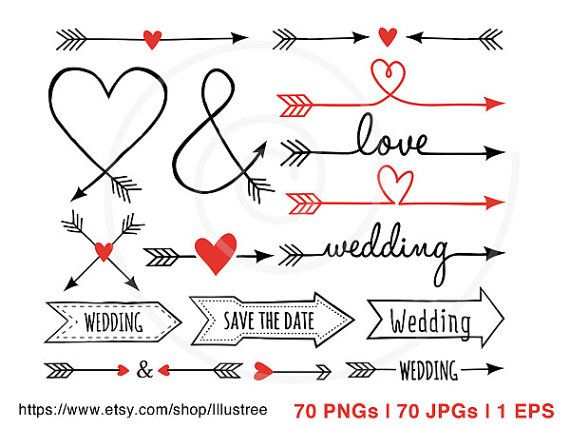Valentine's day clip art, wedding clip art, 70 hand-drawn arrows, digital clipart set, wedding invitation, scrapbooking, instant download