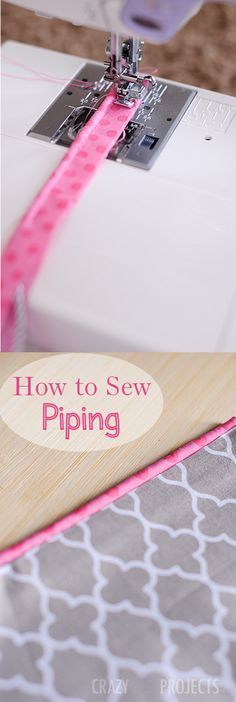 How to Make Your Own Piping: This is a nice refresher for since it has been sometime that I have sewn piping.