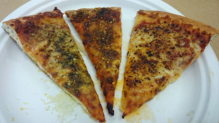 Transformed ordinary cheese pizza slices with a gourmet touch! Left slice: drizzled San Pietro avocado oil w/ Henry Langdon's Tunisian Tabil aromatic spice; Middle slice: drizzled Gradassi Garlic Infused EVOO w/ Henry Langdon Greek Yiros aromatic spice; Right slice: drizzled Gradassi Garlic Infused EVOO w/ Etnia Merquen smoked chili spice. Heat them in a toaster and you've got yourself full fledged gourmet pizzas! Find all these ingredients via our online retail store…