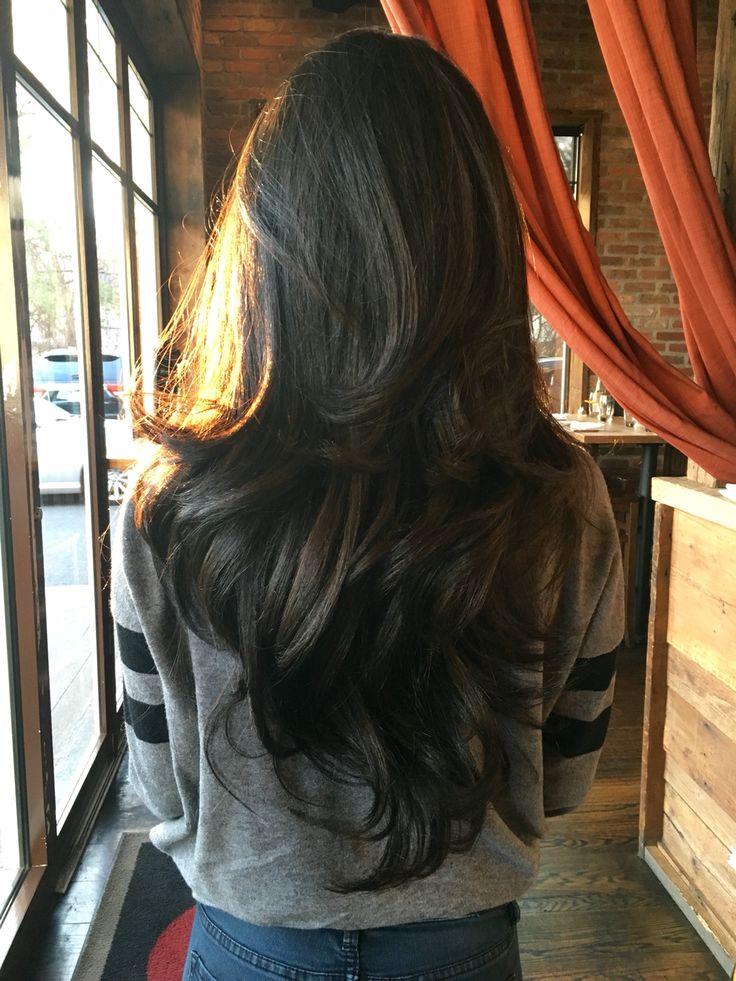 Long Dark Chocolate-Brown Wavy Hair with Layers