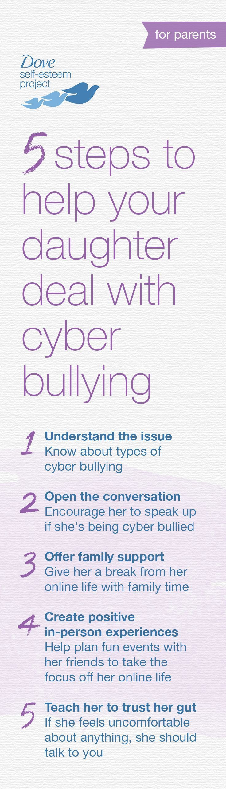 Help your daughter develop protective strategies now to deal with online bullying—it will be an important skill for lifelong self-esteem. Use the checklist we've put together to help understand the issues, support your daughter, and take action to stop cyber bullying in its tracks. #SelfEsteemProject #DovePartner