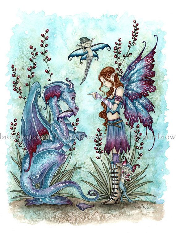 ORIGINAL WATERCOLOR PAINTING Bad Dragon and Fairy by Amy Brown