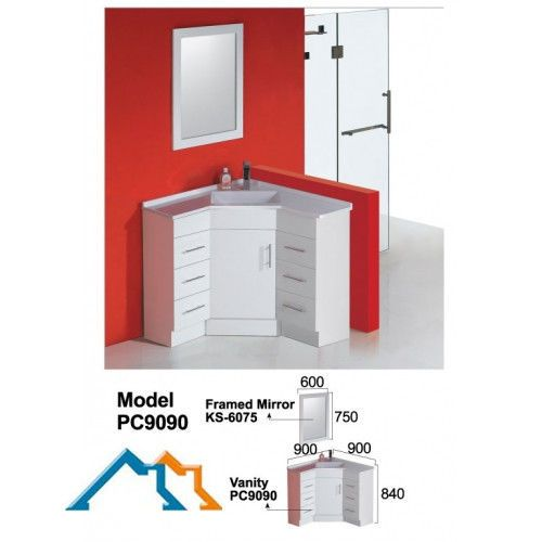 NEW Bathroom 900 900 840mm Corner Vanity With Poly Marble Basin in NSW | eBay