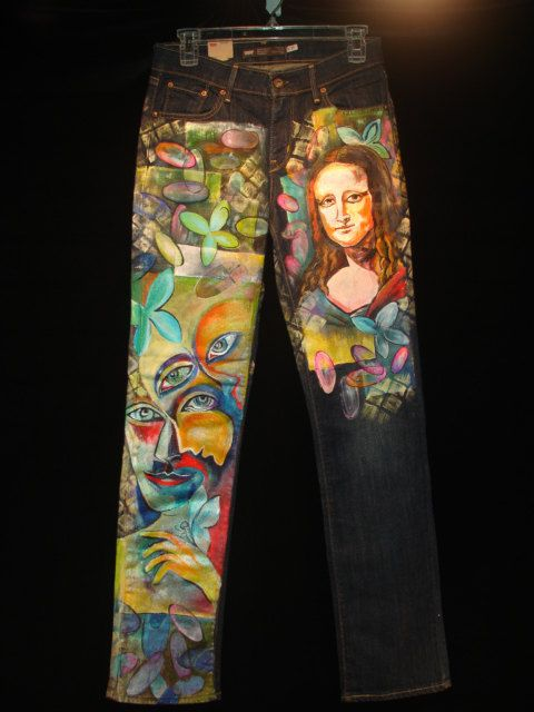 Wearable Art Hand Painted Abstract MONALISA PICASSO Women Denim Jeans Pants - Size 27 US Size 4 on Etsy, $449.95