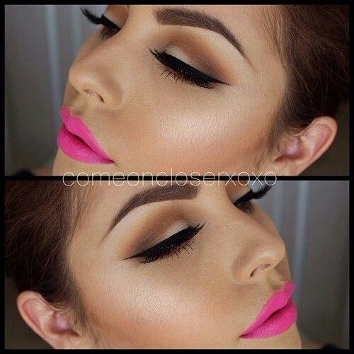 Wing eyeliner & pink lipstick | Beauty | Pinterest | Pink ...