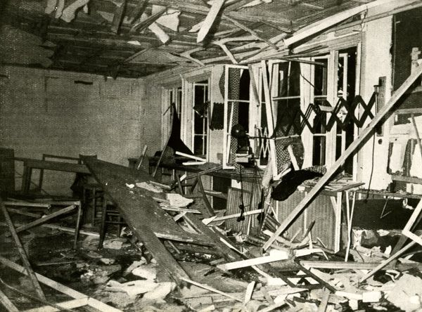 """The Conference Room at the """"Wolf's Lair"""" after the Assassination Attempt (July 20, 1944) To bad this assassination attempt on Hitler failed."""