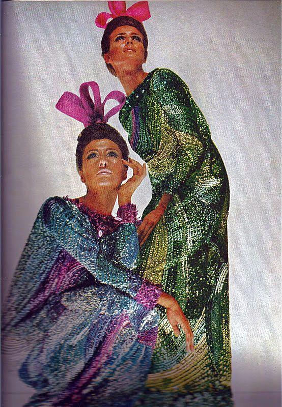 Metallic maxi dresses 60s vintage fashion style color photo print ad model magazine designer beaded sequins blue purple green yellow