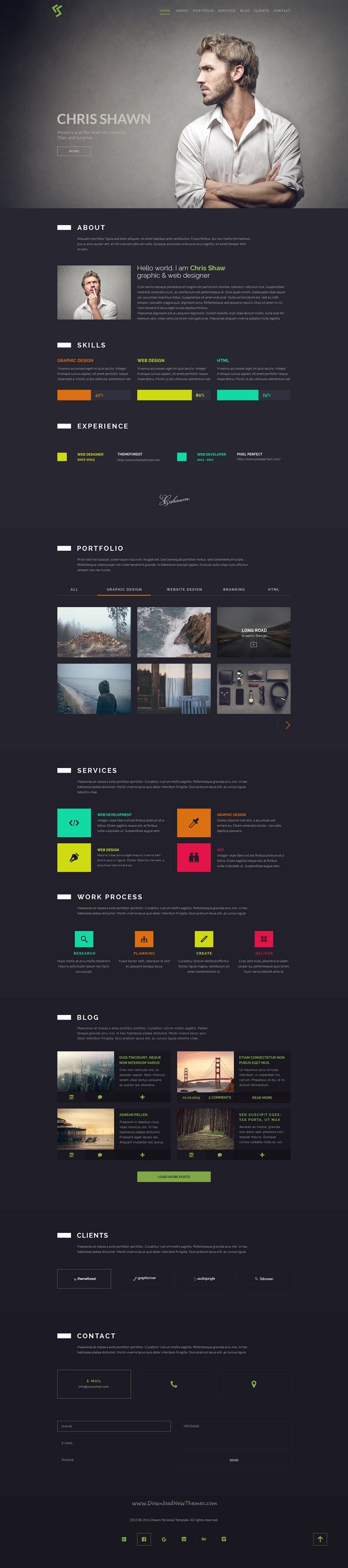 Chris Shawn is a clean and modern design #psd #template for #webdev personal one page website with unique colors download now➩  https://themeforest.net/item/chris-shawn-one-page-psd-template/18774941?ref=Datasata