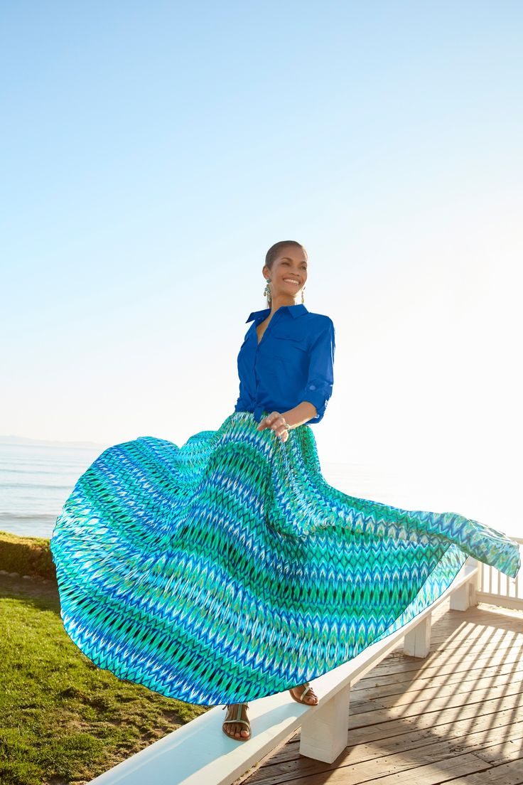 Spring is a-whirl with pleated maxi skirts.