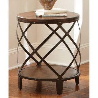 Windham Solid Birch/ Iron Round End Table | Overstock.com Shopping - Great Deals on Coffee, Sofa & End Tables