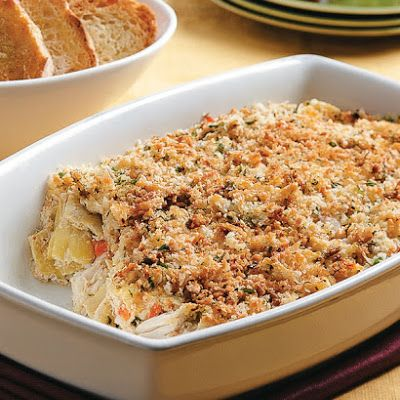 Crab and Artichoke Gratin @keyingredient #cheese #bread