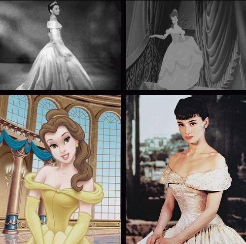 """Not only was Audrey Hepburn used as one of the visual models for animators when creating the Disney character Belle from the 1991 film, Beauty and the Beast, but the ball gown Belle wears in the now famous waltz scene from the Oscar-nominated Disney flick is directly inspired by the royal gown Audrey Hepburn wore in the 1953 film Roman Holiday - her Hollywood debut. Hepburn was used as model primarily for her face's round features."""