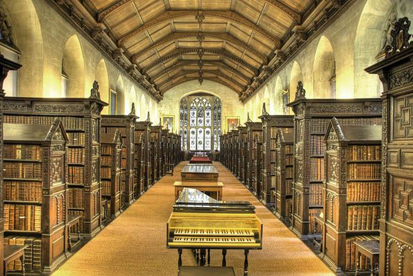 The Old Library at St. John's College, Cambridge University in England. It was built in 1624, largely with funds donated by John Williams, Bishop of Lincoln. The Library's fine bay window overlooks the River Cam, and bears the letters ILCS on it, standing for Iohannes Lincolniensis Custos Sigilli, or John of Lincoln, Keeper of the Seal.