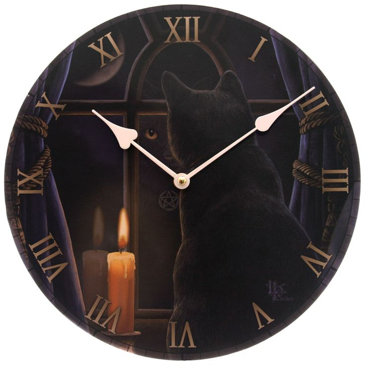 "Reloj diseño Lisa Parker ""Midnight Vigil"". Relojes, gatos, magia, fantasía."