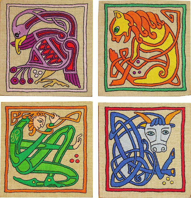 Quattro evangelisti Celtic ricamati a mano set di YANKAcreations