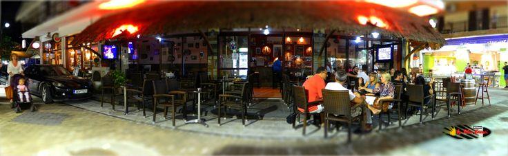 Rock Cafe Kleio Bar, Sarti, Halkidiki, Greece, Nikon Coolpix L310, panorama mode: segment 3, HDR-Art/Tilt-Shift photography, 2014
