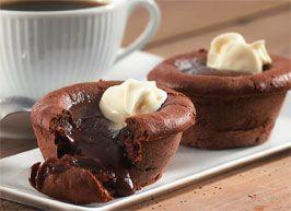 Chokoladekage   Opskrift på blødende chokolademuffins