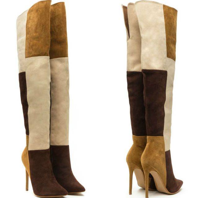 colorblock high heel thigh high boots discount shoes