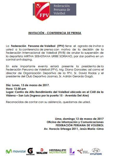 FEDERACIÓN PERUANA DE VOLEIBOL DARÁ CONFERENCIA SOBRE CASO DE MIRTHA URIBE
