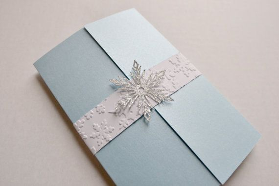 Tri-fold Disney Frozen or Winter Wonderland Snowflake Custom Invitation on Etsy, $3.50